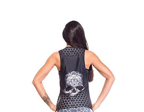 Excess Camiseta Deportiva Mujer Tank Top Tirantes Fitness Yoga Pilates Running Gimnasio Maillot ciclismo 3D de Fiesta Mujer Sexy Italiano Camisetas dim ALAS Gris L