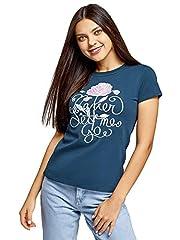 oodji Ultra Mujer Camiseta Estampada con Cuello Redondo