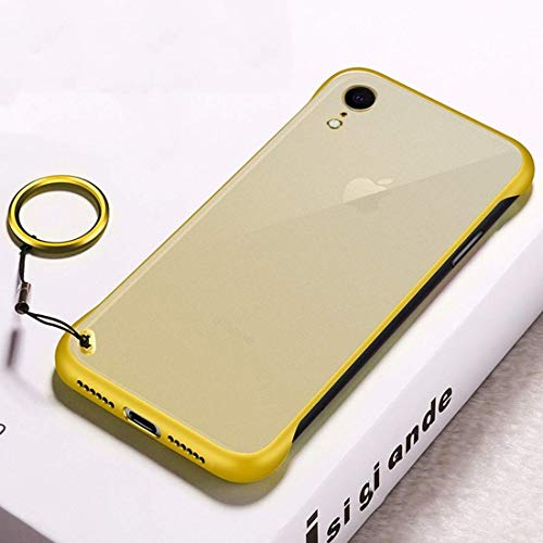 Personality Phone Case for iPhone XR, Frosted Anti-skidding TPU Protective Case with Metal Ring (Color : Yellow)
