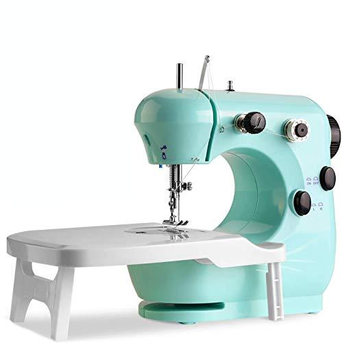 WADEO Máquina de coser portátil con pedal, control de doble velocidad, máquina de coser con prensa intercambiable, para el hogar, principiantes, niños, niñas (azul)