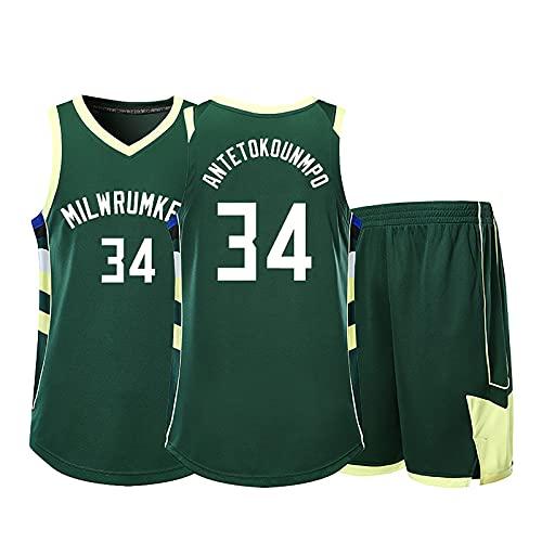 Camiseta De Baloncesto Set Bucks # 34 Antetokounmpo Sudadera Milwaukee Training Jersey Fast Break Jersey Chaleco Deportivo Sin Mangas para Adultos (5XL)