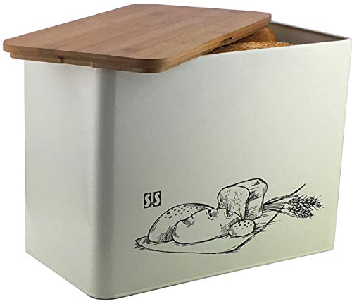 Solander Skelf Metal Bread Box with Cutting Board Lid - Eco Bamboo Breadboxes - Large Vertical - Extra Strong High Capacity Space Saver - Retro Breadbox Container Box Kitchen - Great Gift Idea