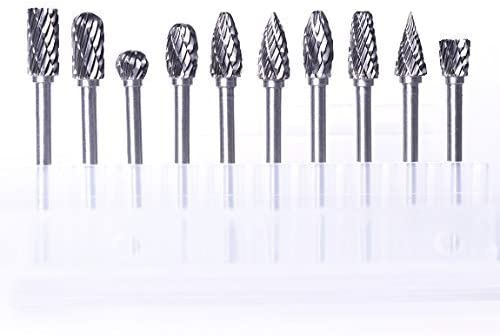 ATOPLEE Rotary Burr Set,10pcs 1/8 Inch Shank Tungsten Steel Solid Carbide Rotary Files Diamond Cutting Burrs Set for ...