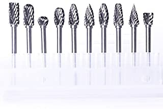 "Atoplee 10pcs 1/8"" Shank Tungsten Steel Solid Carbide Rotary Files Diamond Burrs Set Fits Rotary Tool for Woodworking Drilling Carving Engraving"