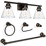 3-Light Vanity Light Fixture, 5-Piece All-in-One Bathroom Set (E26 Bulb Base), Oil Rubbed Bronze Wall Sconce Lighting with Glass Shads, ETL Listed (Bulb not Included)