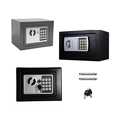 Tresor Elektronikschloss Mini Tresor Safe Tresor mit Zahlenschloss und Schlüssel Hochwertiger Stahl Möbeltresor 4.6L - Grau