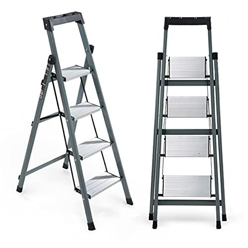 Escalera 4 Peldaños Ligera Con Reposabrazos (Mesa De Herramientas),Escaleras Plegables Aluminio Ahorra...