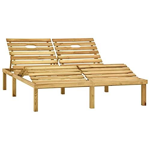 vidaXL Kiefernholz Grün Imprägniert Doppel Sonnenliege Gartenliege Holzliege Doppelliege Gartenmöbel Liege Relaxliege Saunaliege Strandliege