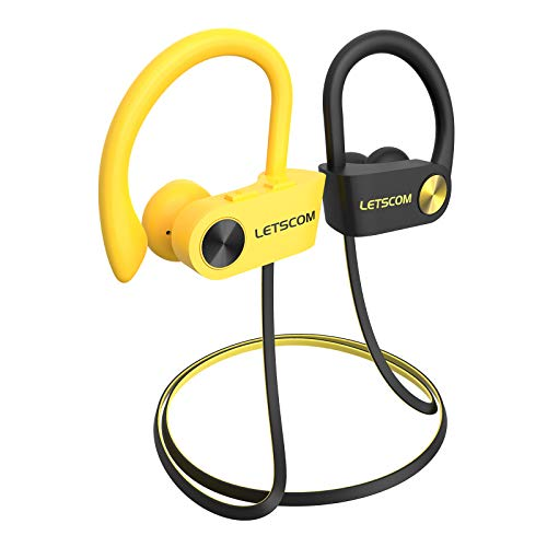 LETSCOM Bluetooth Headphones V5.0 with aptX-HD Stereo Sound, IPX7 Waterproof Running Headphones CVC 8.0 Call Noise Reduction Mic, 16 Hours Playtime Sports Earbuds with Carrying Bag for Workout Gym