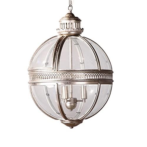 Lámpara Vintage Globe Colgante Luces Lámpara Loft Lámpara de Hierro Lámpara Redonda Cocina Dinning Bar Mesa Luminaria Luminaria Colgando wall light (Body Color : Silver)
