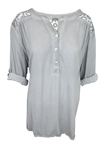 Ella Jonte Bluse 44 46 grau Vintage Spitze Jacopo Made in Italy Turn-up Ärmel...
