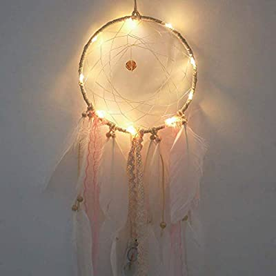 Dream Catcher Hand Made Gift, Feather Dreamcatcher 1 Meter 10LED Lighting Girl Room Bell Bedroom Romantic Hanging Decoration, Girls Hanging Dreamcatcher Creative Gift Present Accessories (A)