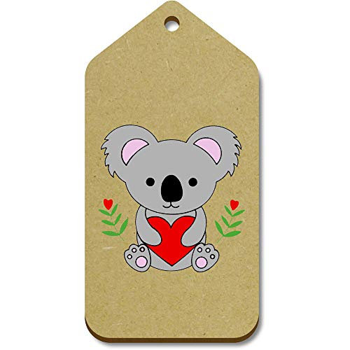 Azeeda 10 x Large 'Koala Holding Heart' Wooden Gift Tags (TG00094620)