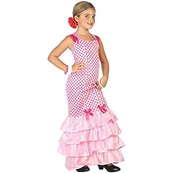 Folat - Vestido Flamenco Español para Niñas - Talla S: Amazon.es ...