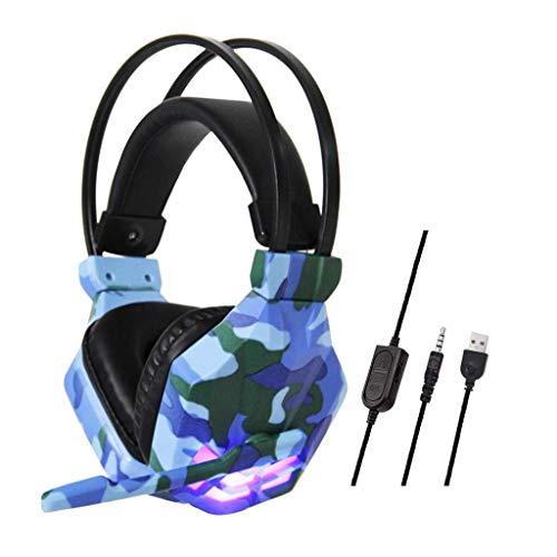 MGWA Auriculares para videojuegos con cable de camuflaje, auriculares para videojuegos, auriculares estéreo de 3,5 mm, para N-Switch (color azul).