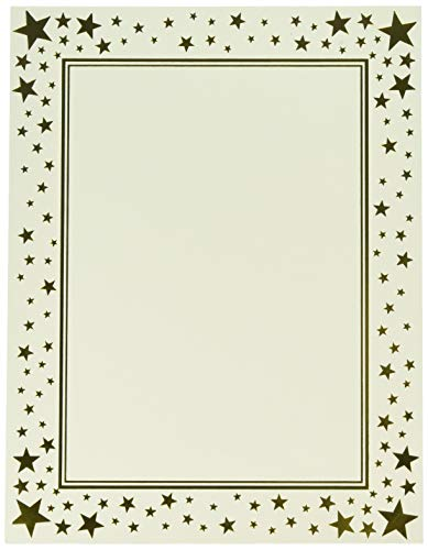 "Gartner Studios Gold Star Foil Certificate Paper, 80lb 8.5"" x 11"", 15 Count"