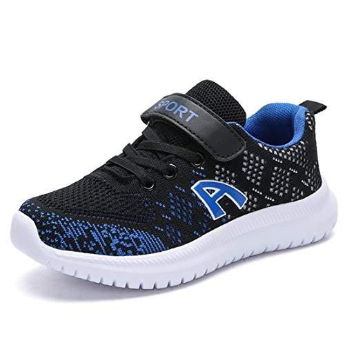 Unpowlink Kinder Schuhe Sportschuhe Ultraleicht Atmungsaktiv Turnschuhe Klettverschluss Low-Top Sneakers Laufen Schuhe Laufschuhe für Mädchen Jungen 28-37, Schwarz Blau A, 37 EU