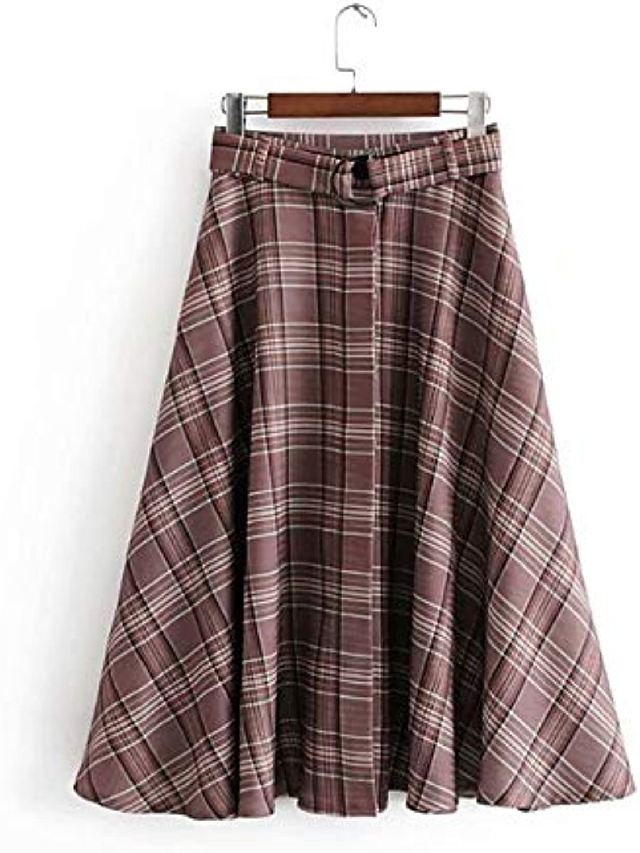 Women's KneeLength a line Skirts  Plaid