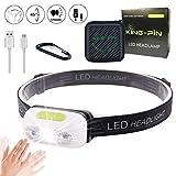 King-Pin stirn1 Kopflampe USB Wiederaufladbare Wasserdicht Leichtgewichts Mini 7 Leuchtmodi Perfekt...