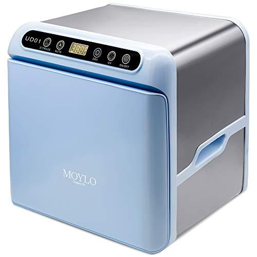 MOYLO UV消毒乾燥機 紫外線消毒器 消毒機 滅菌器 除菌ケース 紫外線 10L 大容量 110V 3ピンプラグ+全世界対応マルチ変換プラグ UV漏れ防護機能付き 壁掛け式 省スペース ブルー …