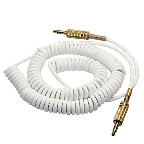 Kingjinglo 3.5mm Replacement Audio AUX Cable Coiled Cord for Mar-Shall Woburn Kilburn II Speaker Male to Male Jack