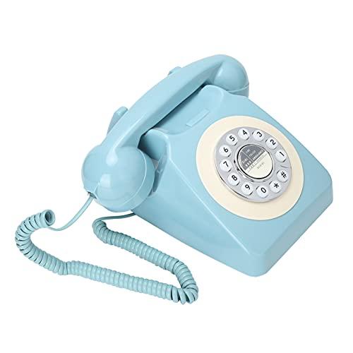 Teléfono Retro con Cable, Marque el último número Teléfono de Escritorio sin batería con Anillos de Doble Gong Sin Fuente de alimentación Externa para Uso en la Oficina