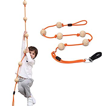YKB Kids Climbing Rope Tree Swing with Wooden Balls,Playground Swing Set Accessories Outdoor for Kids,Trees House Swing Outside Playset Toys for Indoor/Outdoor/Playground/Home/Tree/Backyard Orange