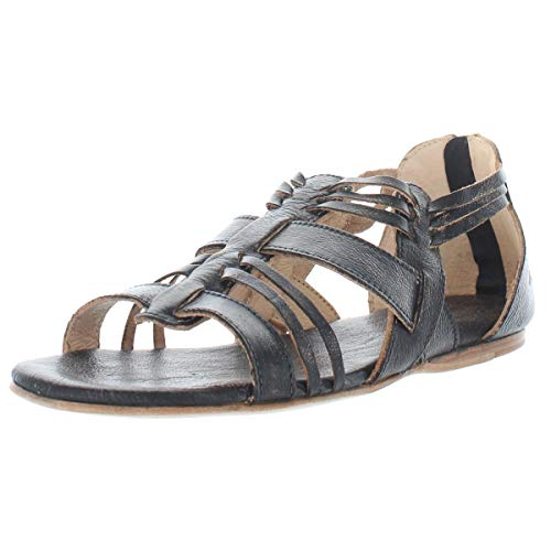 BED|STÜ Cara Women's Leather Sandal - Distressed Leather Sandal - Flat With Zipper Closure - Classic Huarache Sandal - Black Handwash - Size 7