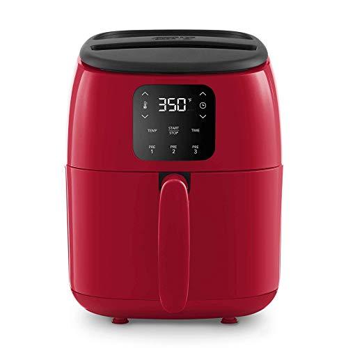Dash Tasti-Crisp™ Digital Air Fryer with AirCrisp® Technology, Custom Presets, Temperature Control, and Auto Shut Off Feature, 2.6 Quart - Red (Renewed)