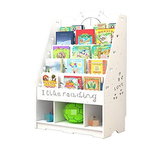 ShiSyan Librería Librería para niños Niños Estantería con Alfabeto Niños Libros Almacenamiento 4 Niveles Estantes Blanco (Color: Blanco, Tamaño: 112x100x32cm)