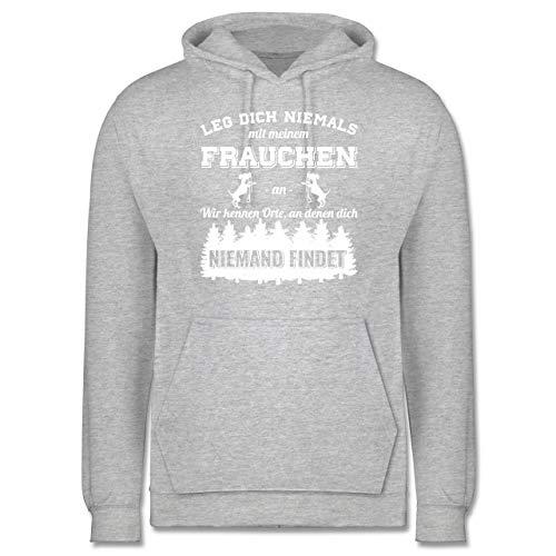 Shirtracer Hunde - Leg Dich Niemals mit Meinem Frauchen an - M - Grau meliert - Frauchen Hund Hoodie Spruch - JH001 - Herren Hoodie und Kapuzenpullover für Männer