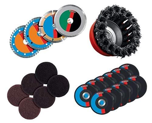PARKSIDE® Zubehör für Winkelschleifer PWSA 20 Li X20V, Diamant- Trennscheiben/Topfbürste/Schleifvlies/Schleifteller/Trennscheiben (auch für alle gängigen Winkelschleifer)
