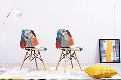 Anaelle Pandamoto 2 x Chaise Rétro Tissu avec Dossier Pieds en Bois sur Salle à Manger, Cuisine, Bar, Bureau ou Salon, Taille: 47 * 47.5 * 81cm