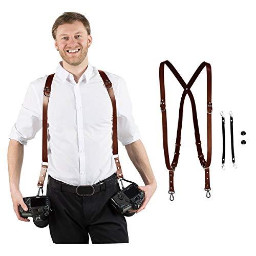 Leather Adjustable Dual Shoulder Camera Harness Strap Sling (M68)