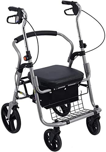Walker para Seniors & Plus Tamaño, Walker Portable Heavy Rollator Walker con asiento y canasta y ruedas grandes, carrito de compras plegable