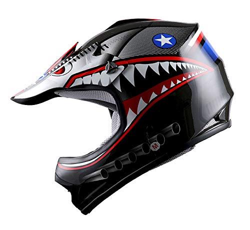 WOW Youth Kids Motocross BMX MX ATV Dirt Bike Helmet Shark Black