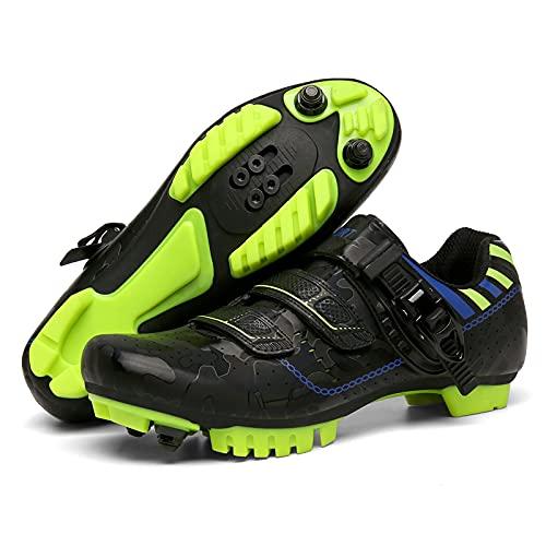 KUXUAN Zapatillas de Ciclismo para Hombre, para Mujer, Antideslizante, para Bicicleta de montaña, para Hombre, para Bicicleta de Carretera, MTB, para Carreras en Interiores y Exteriores,Black-44EU