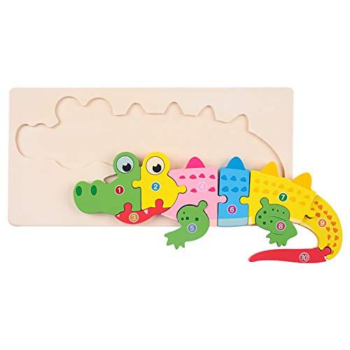 Puzzles de Madera Educativos Juguetes Bebes,Rompecabezas de Madera,Juguete Montessori para Niños,Jouets Enfant 3+ ANS, Bébés Animaux Jeux Educatif (Cocodrilo)