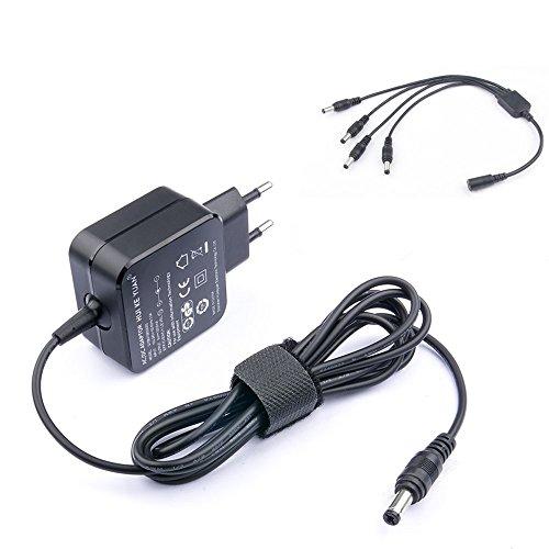 HKY DC 9V 2A 4 Ways Netzteil Pedal Power Supply Effektpedal Adapter Rechtwinkliges Splitter Kabel Blei Chord für Gitarre Bass Effekt Keyboards EU Stecker 4 Daisy Chain Kabel