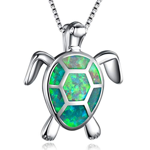 Hermosa Mom Gifts Sea Turtle Green Created Opal Women Pendant Necklace for Girls (Turtle Necklace-Green)