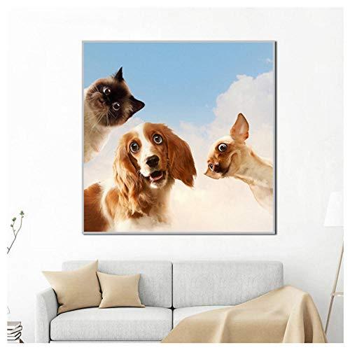GUANGYE Leinwand Malerei Mode Hund Katze Tier Bilder Wandkunst für Wohnzimmer Modern Home Dekorative Poster-50X50Cm Kein Rahmen