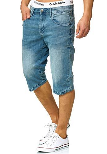 Indicode Herren Jaspar Jeans Shorts mit 5 Taschen aus 98% Baumwolle Knielang   Kurze Denim Stretch Sommer Hose Used Look Washed Regular Fit Men Short Pants Freizeithose f. Männer Blue Wash XL