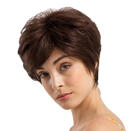 Baoblaze Perruque Courte Marron Pixie Style Boycut Pixie Cut Wig Super Naturel 24 cm