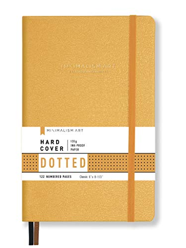Minimalism Art, Premium Hard Cover Notebook Journal, Dotted Grid Page, 122 Numbered Pages, Gusseted Pocket, Ribbon Bookmark, Extra Thick Ink-Proof Paper 120gsm, Classic 5' x 8.3' (Small, Amber)