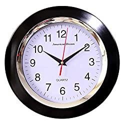 """American Dream 10"""" Silent Non-Ticking Decorative Round Quartz Battery Operated Home, Kitchen, Living Room, Bedroom, Bathroom, Office, School Wall Clock (Black)"""