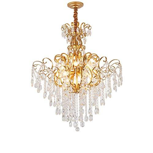 SHBV Lámpara Colgante de Cristal Lámpara Colgante de diseño de Lujo Dorado Lámpara Colgante con Colgante de Cristal Estilo nórdico Moderno para Cocina Café Dormitorio Lámpara Colgante
