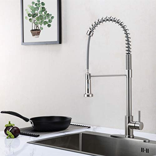 GUSITE Spring Kitchen Sink Faucet with Pull Down Sprayer, Commercial High Arc Single Handle Stainless Steel Pull Out Kitchen Faucet with Deck Plate, Brushed Nickel