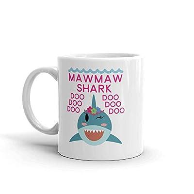 """Shark MawMaw"" Ceramic Coffee Mug/Cup (11 oz.) — Birthday Mother's Day Christmas For Mom Mother Grandma"