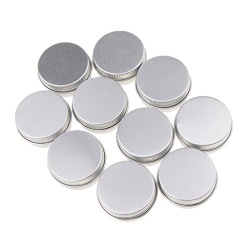 D DOLITY 10 Pcs Pot en aluminium, 10 Pcs 10ML/15Ml boîtes cosmétiques Conteneurs rondes avec couvercle pour cosmétiques, baume, bougie, Crème, stockage de voyage - argent, A-10ML-3,5 x 1,8 cm
