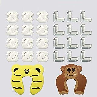 12 Protecciones para Esquinas + 12 Protector Enchufes + 2 Protectores Puerta, EJOY 26 Pack Protecciones para Bebes y Niños con Adhesivo de 3M, Kit Protector Para Esquinas y Enchufes